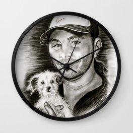 Matt & Dog in Black and White Wall Clock