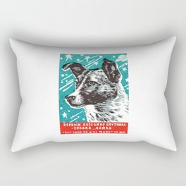1950s Laika Space Dog Russian Matchbox Label Rectangular Pillow