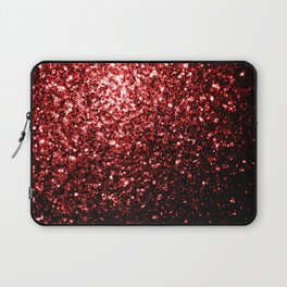 Beautiful Glamour Red Glitter sparkles Laptop Sleeve