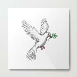Dove Olive Leaf Tattoo Metal Print