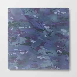 Camouflage: Deep Blue Metal Print