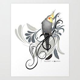 Gray Cockatiel Art Print