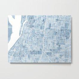 Memphis Tennessee blueprint watercolor map Metal Print