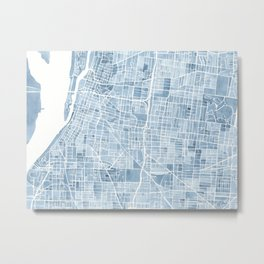 Memphis Tennessee blueprint watercolor map Metal Print