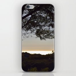 Golden Peach Glowing Ocean Unfiltered Seascape With Tree Silhouettes iPhone Skin