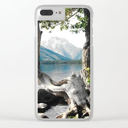 Tetons at Jackson Lake Wyoming Clear iPhone Case