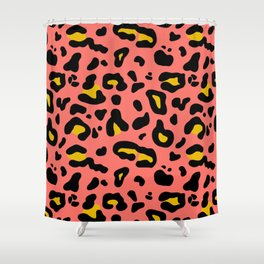 Coral & Yellow Leopard Print Shower Curtain