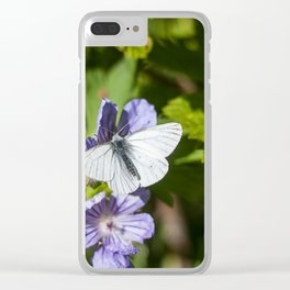 White Moth Photography Print Clear iPhone Case