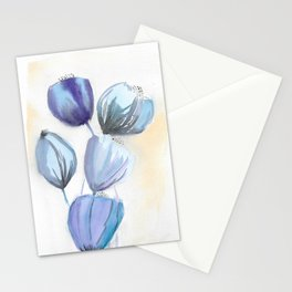 Blue bell flowers watercolor painting romantic something blue Stationery Cards
