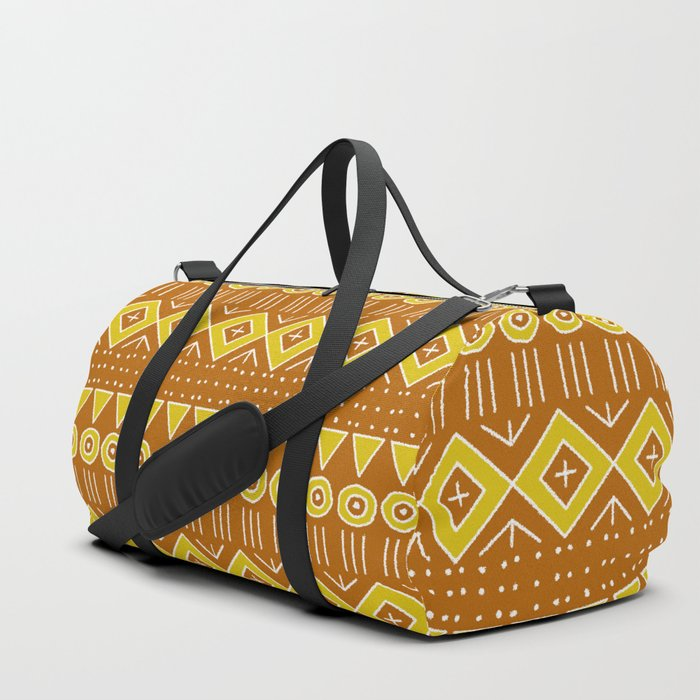 Mudcloth Style 2 in Burnt Orange and Yellow Duffle Bag