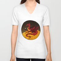 smaug V-neck T-shirts featuring Smaug the Golden by RedWryvenArt