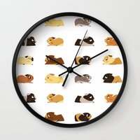 pigs Wall Clocks featuring Guinea pigs by stephasocks