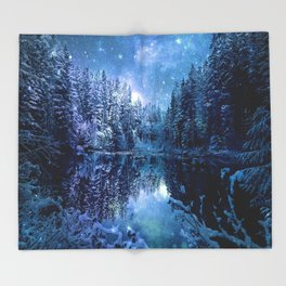 A Cold Winter's Night : Turquoise Teal Blue Winter Wonderland Throw Blanket