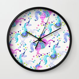 Pastel Unicorns Wall Clock