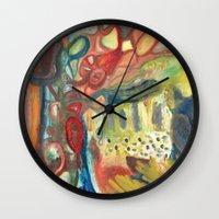 sasquatch Wall Clocks featuring Sasquatch by Dena Nord