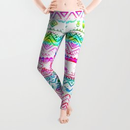 bohemian pattern in pink and turqupise soft colors Leggings