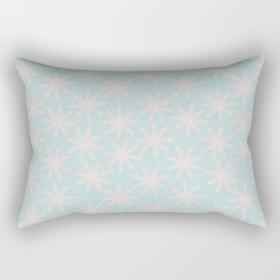 Merry christmas- pink snowflakes and snow on aqua backround Rectangular Pillow