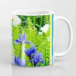 WHITE-BLUE IRIS & FERNS GARDEN Coffee Mug