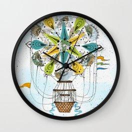 Hot Air Balloon Mandala Wall Clock