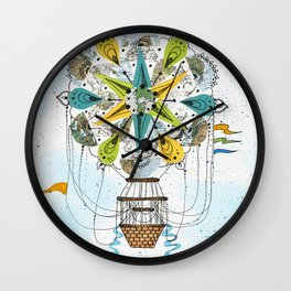 Hot Air Balloon Mandala Wall Clock