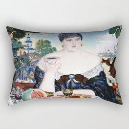 Boris Kustodiev - Merchants Wife At Tea Rectangular Pillow
