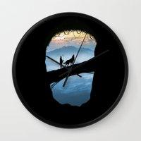 hunter Wall Clocks featuring Hunter by Tony Vazquez