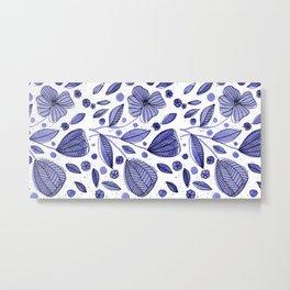 Blue watercolor flowers Metal Print