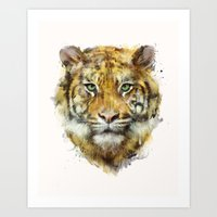 tiger Art Prints featuring Tiger // Strength by Amy Hamilton