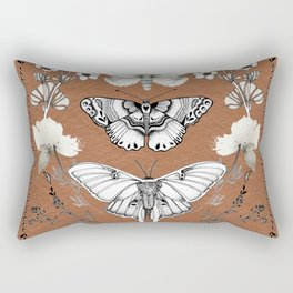 Three Moths Burnt Orange Rectangular Pillow
