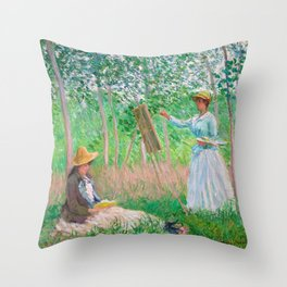 Monet - In the Woods at Giverny Throw Pillow