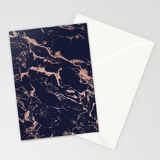 Modern chic navy blue rose gold marble pattern Stationery Cards