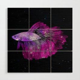 Pink Galaxy Betta Fish Wood Wall Art