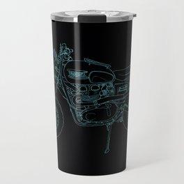 Blue Neon Motorcycle Travel Mug