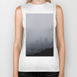 Foggy Pittsburgh Skyline Biker Tank
