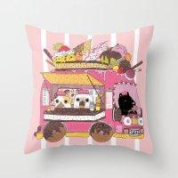 truck Throw Pillows featuring IceCream Truck by ShangheeShin