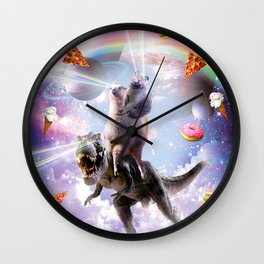 Laser Eyes Space Cat On Llama Dinosaur - Rainbow Wall Clock