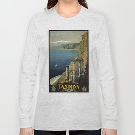 Vintage Taormina Sicily Italian travel ad Long Sleeve T-shirt