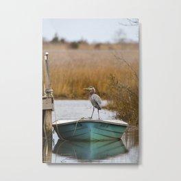 Great Blue Heron on Fishing Boat Metal Print