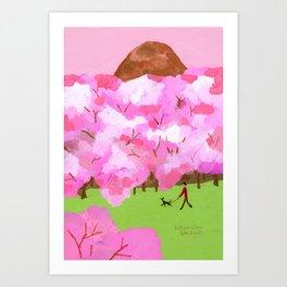 Under cherry blossoms Art Print