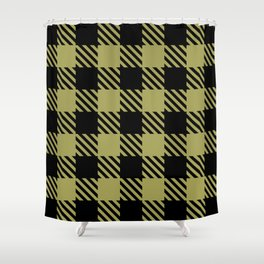 Plaid Pattern Black and Olive Green Shower Curtain