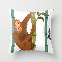 O for Orangutan Throw Pillow