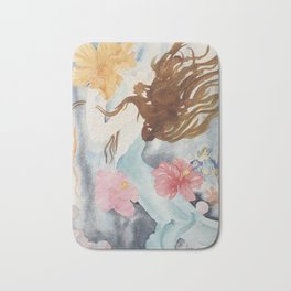 Mermaids Love Flowers Bath Mat