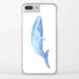 Blue Whale Watercolor Clear iPhone Case
