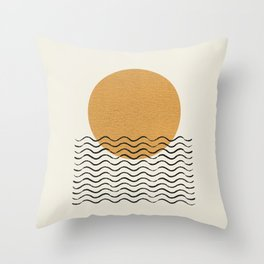 Ocean wave gold sunrise - mid century style Throw Pillow