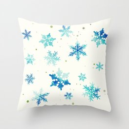 ICY BLUE SNOWFLAKE PATTERN Throw Pillow