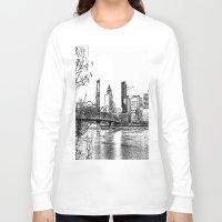 portland Long Sleeve T-shirts featuring portland skyline by silverylizard