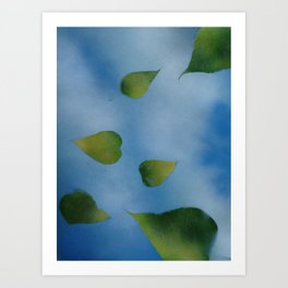 Green Leaves falling Art Print
