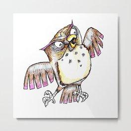 Wise Old Owl w/ Gel Pen Metal Print