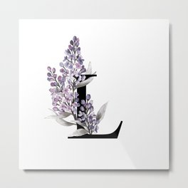 Letter 'L' Lilac Flower Typography Metal Print
