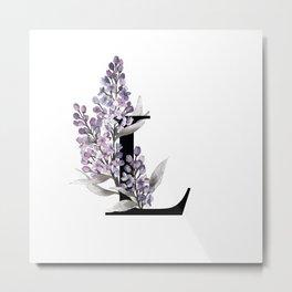 Letter 'L' Lilac Flower Monogram Typography Metal Print